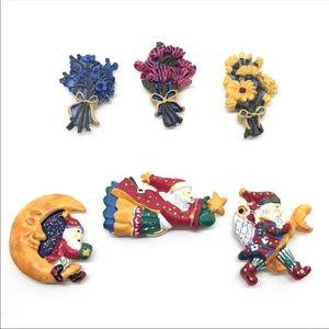 Complete Set Of Button Covers - Bouquets & Santas